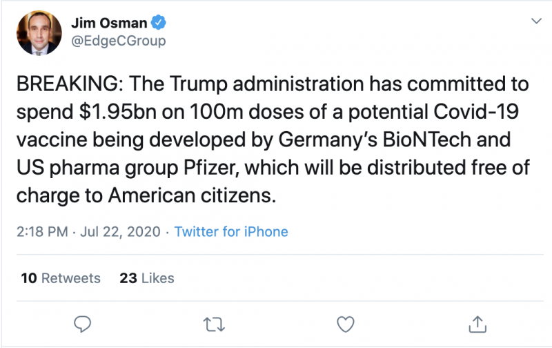 The Rates Of Pfizer Pfe And Biontech Bntx Are Rising Against The Free Distribution To Americans